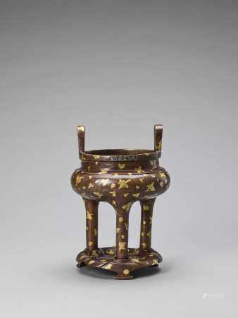 A GOLD-SPLASHED BRONZE TRIPOD CENSER WITH SIX-CHARACTER XUANDE MARK, QING