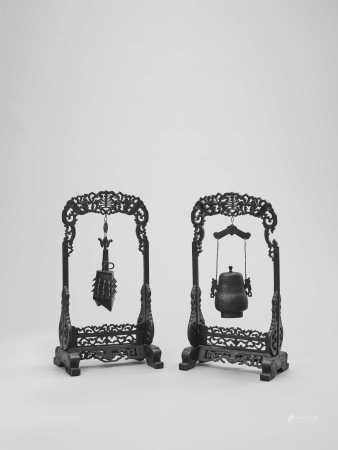 AN ARCHAISTIC BRONZE TEMPLE BELL AND VESSEL SUSPENDED IN HARDWOOD FRAMES AND STANDS, QING
