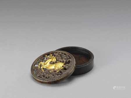 A PARCEL GILT 'STAG AND PINE' INCENSE BOX, LATE QING TO REPUBLIC