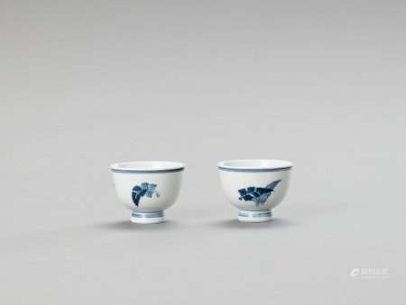 A SMALL PAIR OF BLUE AND WHITE PORCELAIN CUPS