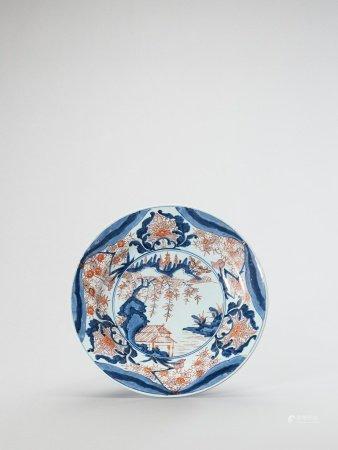 A LARGE IMARI PORCELAIN PLATE
