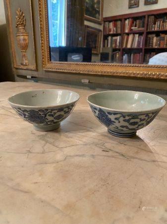 Chine, XIXème siècle.  Deux coupes en porcelaine émaillée blanc bleu à décor de fls et rince