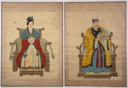 Pair of ancestral portraits Chinese, depicting an Emperor and Empress seated on thrones in