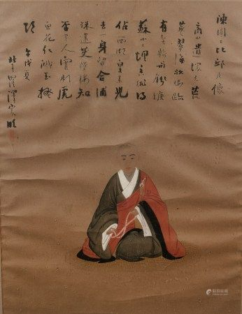 Painting Chinese, 19th/20th Century, depicting a seated Buddhist monk holding a rosary, with