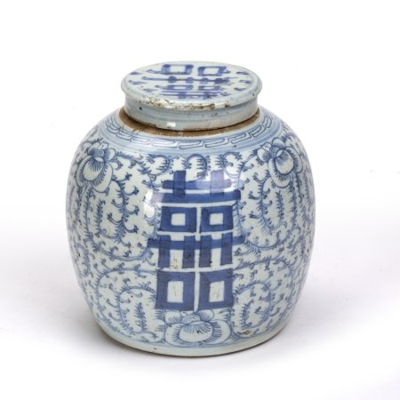 Blue and white ginger jar Chinese, 19th Century, decorated to the body with foliate splays and