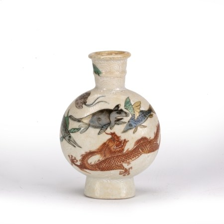Miniature vase Chinese, decorated to the body with birds and dragons, set against crashing waves,
