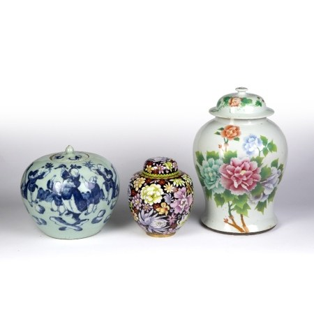 Group of three vases Chinese, to include a lidded Canton vase decorated with flowers to one side and