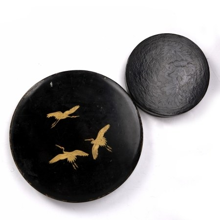 Satsuma hor d'hoeuvres set in a case, Japanese, 31cm and a Burmese incised lacquer box 20cm (2)