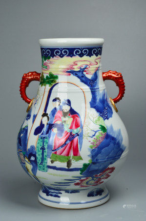 The Colorful Character Statue with Blue and White Flowers 青花粉彩人物尊