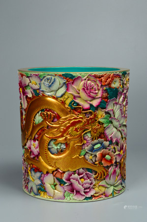 Carved Porcelain Powder Enamel Pen Holder with Dragon Pattern 雕瓷粉彩龙纹笔筒