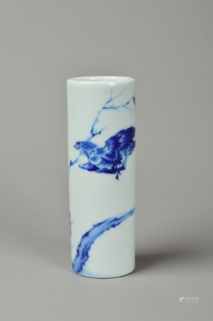 The Brush Pot of blue-and-white  青花笔筒