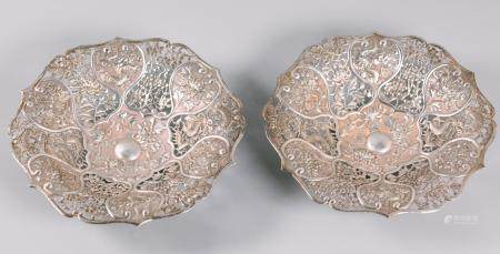 pair of Chinese silver trays, possibly 19th c.