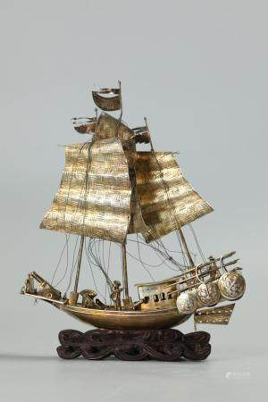 Chinese silver boat, possibly 19th c.