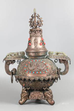 Chinese Mongolian silver cover censer