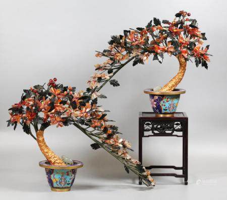 pair of Chinese jade/stone bonsai flower trees