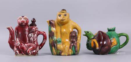 3 Chinese porcelain teapots, possibly 19th c.