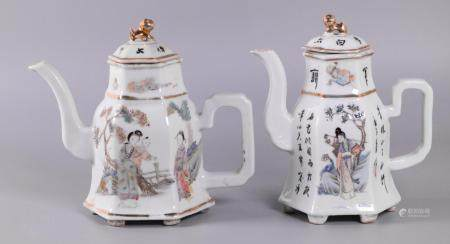 2 Chinese porcelain teapots, possibly Republican period