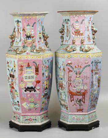 pair of Chinese hexagonal porcelain vases, possibly 19th c.