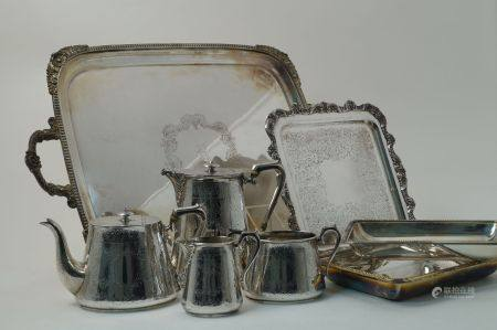 A large twin-handled silver plated drinks tray by Walker & Hall, Sheffield, c.1900, of rectangular
