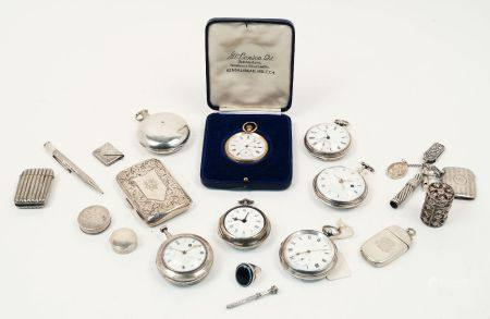 A group of seven pocket watches and a collection of small silver items including: a pill box,