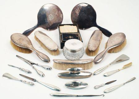 A cased tortoiseshell and silver brush and comb set, Birmingham, c.1926 and 1927, B&Co., together