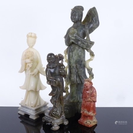 A group of Chinese hardstone carvings, depicting Guanyin and sages, largest height 30cm (4)