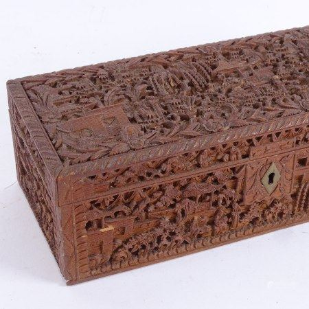 A 19th century Chinese carved sandalwood glove box, relief carved courtyard scenes, length 25cm (1