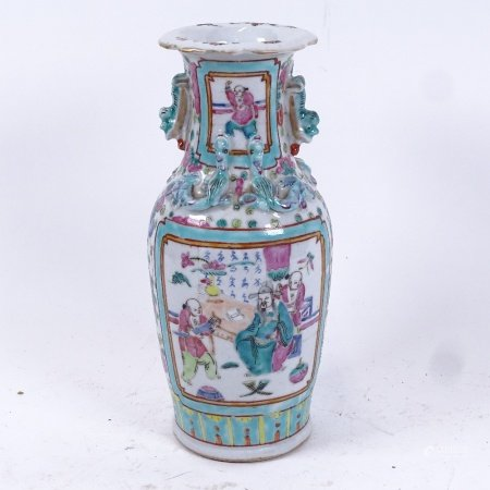 A Chinese famille verte baluster vase, figure decoration with dragon mounts, height 25cm