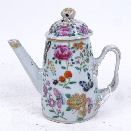 A 19th century Chinese famille rose porcelain teapot and cover, hand painted and gilded floral