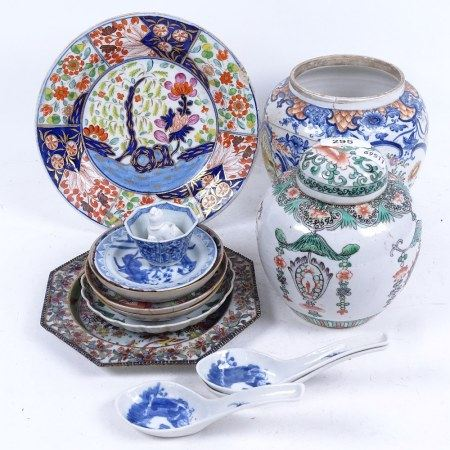 Various Chinese ceramics, including small Canton famille rose dish, 18th century Mandarin ginger