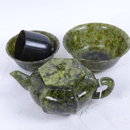 A group of spinach nephrite/jadeite items, including pumpkin teapot and bowls, teapot height 9cm (4)