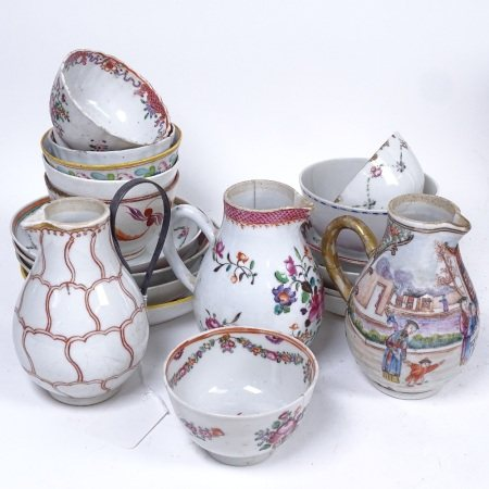 3 Chinese porcelain jugs with painted decoration, tallest 11cm, Chinese tea bowls and saucers etc