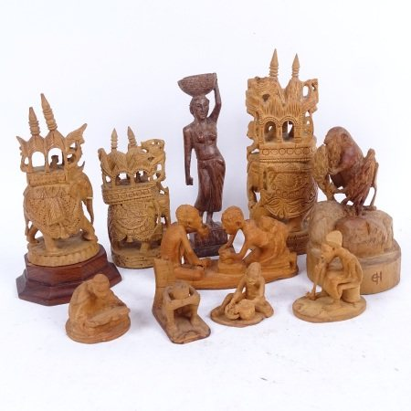 3 carved wood caparisoned elephants with mahouts, tallest 17.5cm, Eastern carved wood figures etc