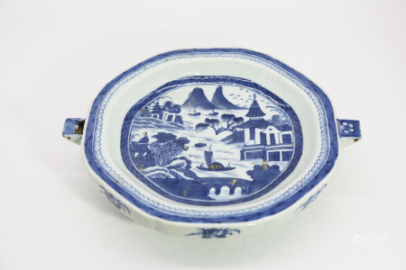 Chinese Blue And White Porcelain Plate With Pattern Of Landscape