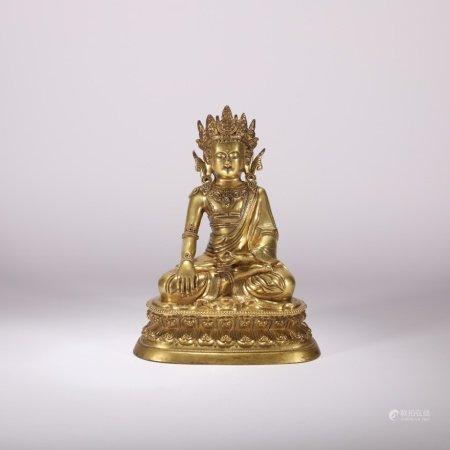 清代 铜鎏金释迦牟尼造像