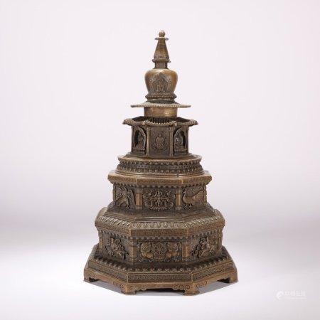 清代 铜制舍利塔