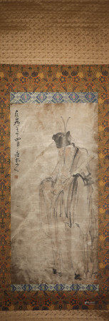 Ink Painting Vertical Scroll and Paper Texture from Huang Shen 古代水墨画 黄慎、人物 纸本立轴