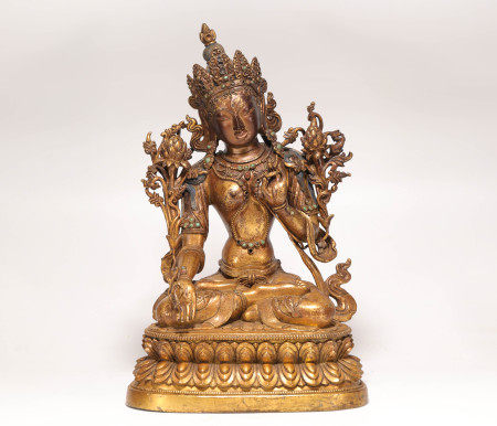 Copper and Golden White Tara from Qing 清代銅鎏金白度母