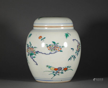 Colored Glazed Floral Vase from Ming 明代鬥彩花卉紋罐
