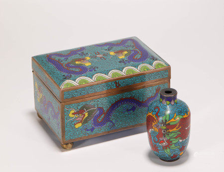 Closionne Squared Box and Snuff Bottle from Qing 清代景泰藍方盒鼻煙壺