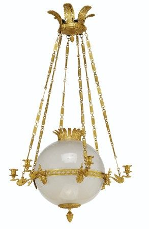AN EMPIRE-STYLE ORMOLU, ETCHED AND FROSTED GLASS SIX-LIGHT CHANDELIER  POSSIBLY BY MAISON JANSEN, 20TH CENTURY