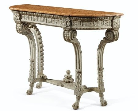 A LATE LOUIS XV GRAY-PAINTED SIDE TABLE  POSSIBLY SOUTHERN FRENCH, CIRCA 1770