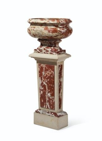 A LOUIS XIV ROUGE LANGUEDOC MARBLE BASIN  CIRCA 1700, THE SOCLE AND PEDESTAL OF A LATER DATE