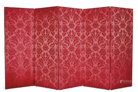 A FRENCH SILK AND WOOL NEEDLEWORK AND SILVER THREAD FIVE-PANEL SCREEN  THE NEEDLEWORK LATE 17TH/EARLY 18TH CENTURY