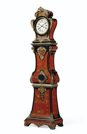 A LOUIS XV ORMOLU-MOUNTED RED AND GILT CHINESE LACQUER AND EBONIZED REGULATEUR  CIRCA 1740