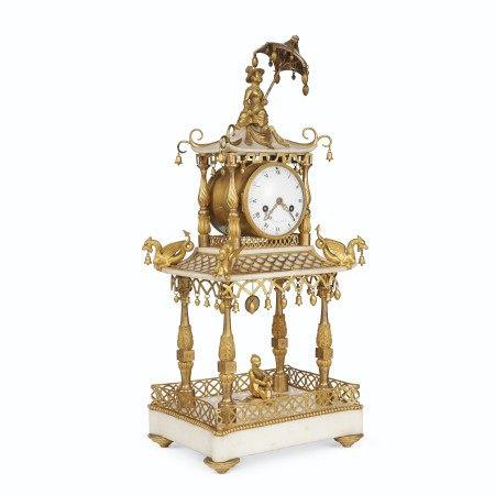 A LATE LOUIS XVI ORMOLU AND WHITE MARBLE MANTEL CLOCK  CIRCA 1785, THE DIAL SIGNED BREANT A PARIS