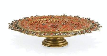 AN ITALIAN (TRAPANI) GILT-COPPER, WHITE AND BLUE ENAMEL AND CORAL-MOUNTED SALVER  CIRCA 1720