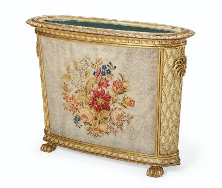 A NORTH EUROPEAN WHITE-PAINTED AND PARCEL-GILT JARDINIERE  SECOND QUARTER 19TH CENTURY