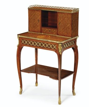 A LATE LOUIS XV ORMOLU-MOUNTED TULIPWOOD, BOIS SATINE, AMARANTH AND PARQUETRY AND MARQUETRY BONHEUR-DU-JOUR  BY LEONARD BOUDIN, CIRCA 1765-70