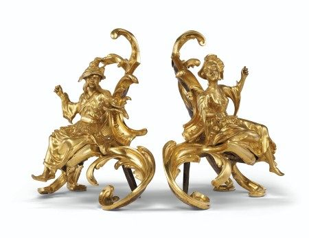 A PAIR OF LOUIS XV STYLE ORMOLU CHENETS  19TH CENTURY